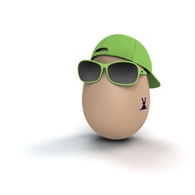 foto of post-teen  - funny and cool easter egg with bunny tattoo - JPG
