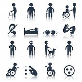 Постер, плакат: Disabled icons set black