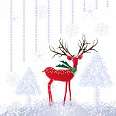 image of rudolph  - Christmas greeting card with deer - JPG