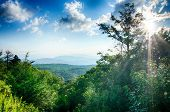 image of blue ridge mountains  - Sunrise over Blue Ridge Mountains Scenic Overlook - JPG