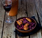 picture of duck breast  - red cabbage and duck breast spicy salad in to cerami  - JPG