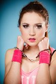 stock photo of delinquency  - Teen crime arrest and jail  - JPG