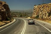 picture of car ride  - Car rides on the highway in the mountains of Crete - JPG