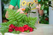 foto of flower shop  - Woman florist preparing bouquet flowers shop retail arranging  - JPG