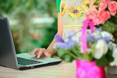 stock photo of small-flower  - Portrait of an attractive florist business woman owner sitting at a flower shop counter using a laptop computer to place a stock order on line. Small business technology.