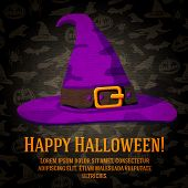 pic of happy halloween  - Happy halloween greeting card with hat of the witch - JPG