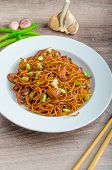 pic of scallion  - Crisp noodles with chicken and soy sauce topped with scallions and garlic - JPG
