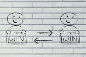 image of win  - concept of Win Win solutions with characters exchanging agreement - JPG