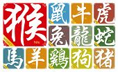 image of prosperity sign  - Vector Chinese zodiac signs with the year of the Monkey in 2016 - JPG
