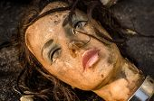 stock photo of hairline  - Dirty mannequin doll head was left in a garbage dump  - JPG