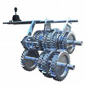 picture of gear  - The gearbox that uses gears and gear trains to provide speed and torque conversions from a rotating power source to another device - JPG