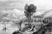 stock photo of mckenzie  - Engraving on Lake Geneva with Alps in background - JPG