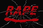 foto of rape  - Word rape bloody and broken on black shattered background  - JPG