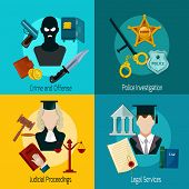 stock photo of proceed  - Law design concept set with crime offense police investigation judical proceedings legal services icon flat isolated vector illustration - JPG