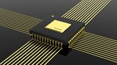 picture of microchips  - Computer microchip CPU isolated on black background - JPG