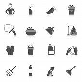 foto of housekeeper  - Cleaning housekeeper dishwashing icon set with glass and plates washing isolated vector illustration - JPG