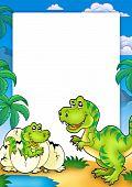 pic of dinosaur-eggs  - Frame with tyrannosaurus rex and palms  - JPG