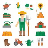 foto of dungarees  - Professional farmer man cartoon character standing in uniform green dungarees with hay fork poster flat vector illustration - JPG