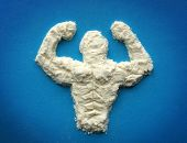 image of bodybuilder  - male body  from protein powder - JPG