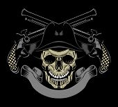 stock photo of skull cross bones  - Illustration of pirate skull with crossed guns - JPG