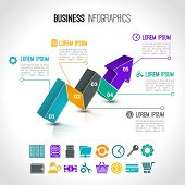 foto of payment methods  - Business charts infographic set with 3d arrow and financial signs vector illustration - JPG