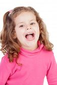 pic of laugh out loud  - Little girl in pink laughing out loud isolated on a white background - JPG