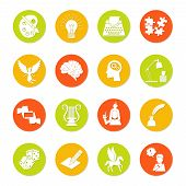 pic of muse  - Muse and art inspiration icon flat set with color palette lightbulb typing machine isolated vector illustration - JPG
