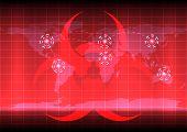 picture of bio-hazard  - World map with bio hazard symblo on red color background - JPG