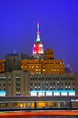 stock photo of empire state building  - Manhattan sunset skyline New York Empire State building USA - JPG