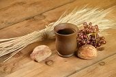 stock photo of communion-cup  - Communion elements with wine - JPG