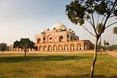 stock photo of mughal  - The tomb of mughal emperor Humayun seen from its gardens in New Delhi in India - JPG
