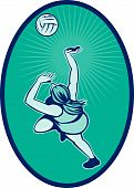 pic of netball  - illustration of a Netball player rebounding jumping for ball - JPG