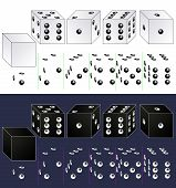 stock photo of dice  - white and black dice - JPG