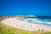 pic of sunny beach  - People relaxing on the Bondi beach in Sydney - JPG