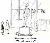 image of win  - Cartoon of two business people looking at statue - JPG