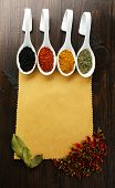pic of kindness  - Different kinds of spices in ceramics spoons on blank paper sheet on wooden background - JPG