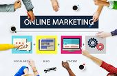 stock photo of online education  - Online Marketing Business Content Strategy Target Concept - JPG