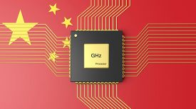 stock photo of cpu  - Computer CPU with flag of China background - JPG