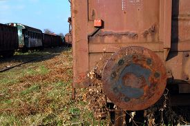 picture of castration  - Old railway wagon standing on the siding railway station - JPG