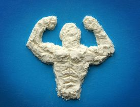stock photo of fruit shake  - male body  from protein powder - JPG