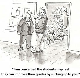 image of feeling better  - Cartoon of students bowing down to deity and principal saying to teacher - JPG