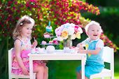 picture of twin baby girls  - Tea garden party for kids - JPG