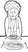 stock photo of sulky  - Outlined cartoon of depressed woman having dinner for two - JPG