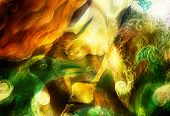 image of creatures  - radiant elven fairy woman creature and energy lights and bird phoenix collage - JPG