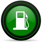 stock photo of petrol  - petrol green icon gas station sign