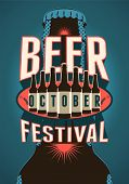 foto of drawing beer  - Beer Festival vintage style poster with a beer bottles - JPG