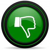 stock photo of dislike  - dislike green icon thumb down sign - JPG