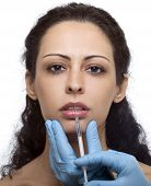 stock photo of collagen  - Treatment with botox hyaluronic collagen HA injection - JPG
