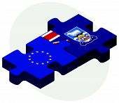picture of falklands  - European Union and Falkland Islands Flags in puzzle isolated on white background - JPG