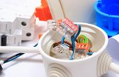 stock photo of fuse-box  - Components for use in installations copper wire connections in electrical box accessories for engineering work energy concept - JPG